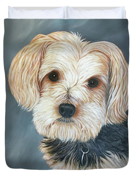 Duvet Cover featuring the painting Yorkie Portrait by Karen Zuk Rosenblatt