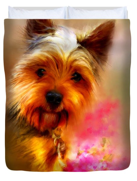 Duvet Cover featuring the digital art Yorkie Portrait by Patricia Lintner