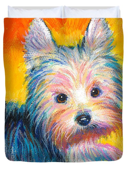 Yorkie Puppy Painting Print Duvet Cover by Svetlana Novikova