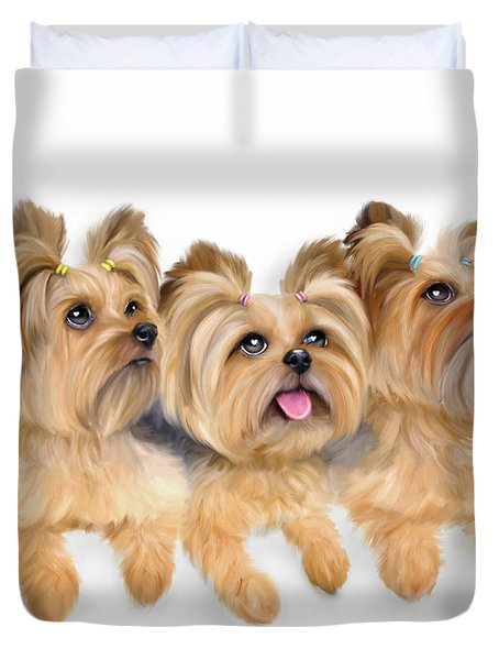 Duvet Cover featuring the painting Yorkie Trio by Catia Lee