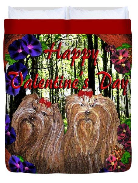 Duvet Cover featuring the digital art Yorkie Valentine Card by Michelle Audas