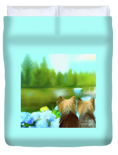 Duvet Cover featuring the painting Yorkies At The Lago Negro by Catia Lee