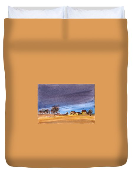 Duvet Cover featuring the painting Yorkshire Landscape by Asha Sudhaker Shenoy