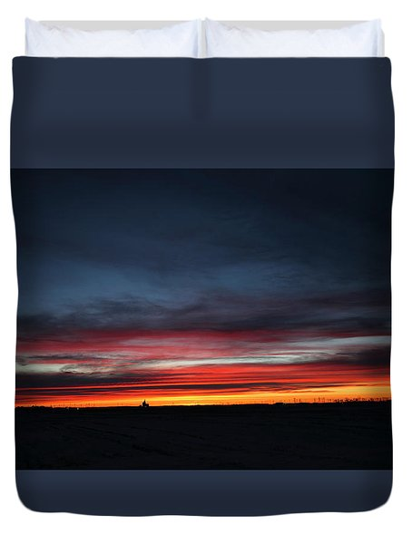 Duvet Cover featuring the photograph Yorkton Sunrise by Ryan Crouse