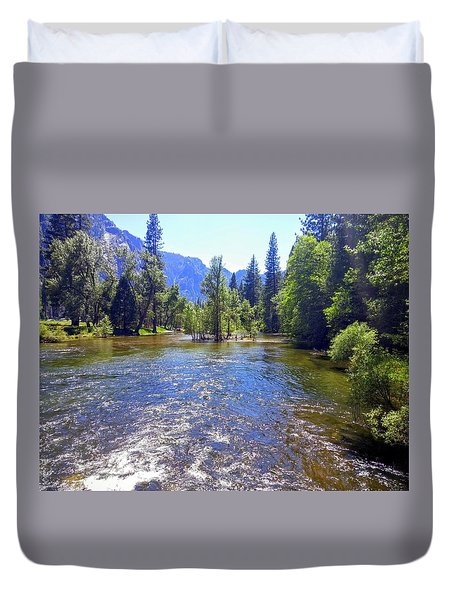 Yosemite River At Ease Duvet Cover