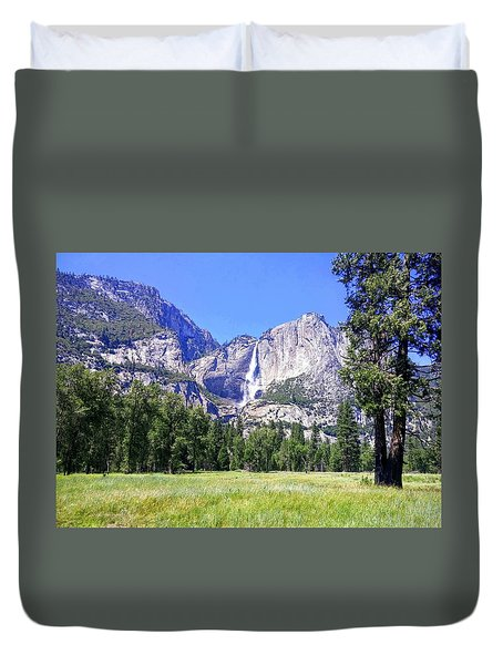 Yosemite Valley Waterfall Duvet Cover