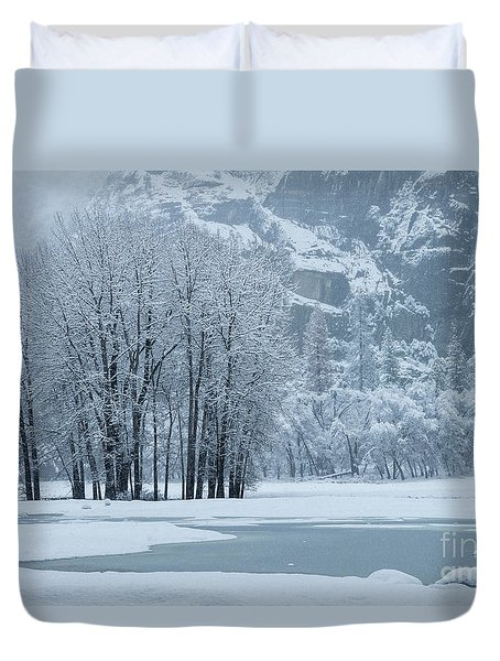 Duvet Cover featuring the photograph Yosemite - A Winter Wonderland by Sandra Bronstein