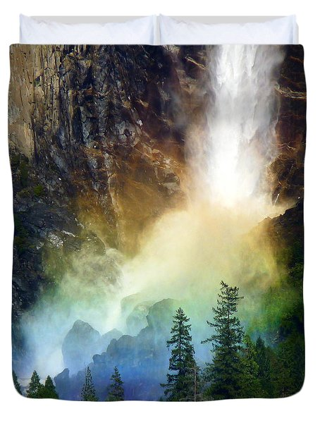 Yosemite Bridalveil Fall Rainbow Duvet Cover