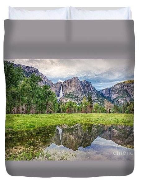 Yosemite Falls And Reflections 2 Duvet Cover