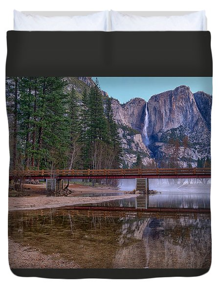 Yosemite Falls At The Swinging Bridge Duvet Cover