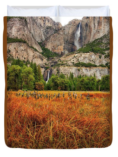 Yosemite Falls Autumn Colors Duvet Cover