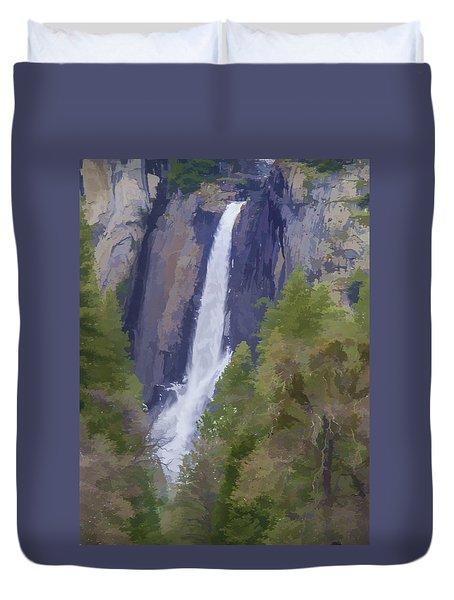 Yosemite Falls Digital Watercolor Duvet Cover