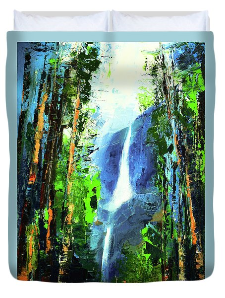 Yosemite Falls Duvet Cover by Elise Palmigiani