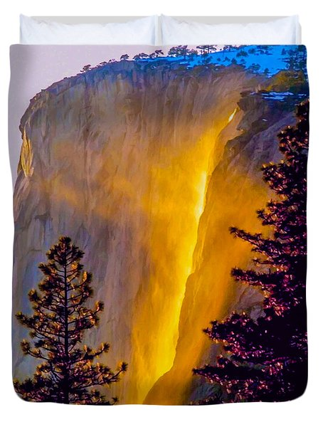 Yosemite Firefall Painting Duvet Cover by Dr Bob Johnston