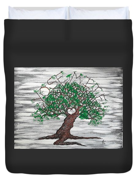 Duvet Cover featuring the drawing Yosemite Love Tree by Aaron Bombalicki
