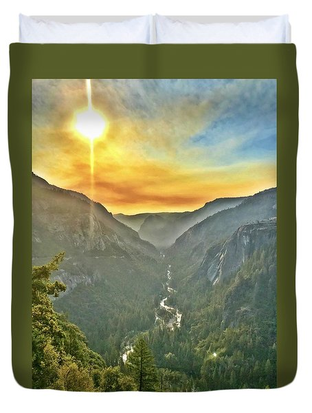 Yosemite Tunnel View Duvet Cover