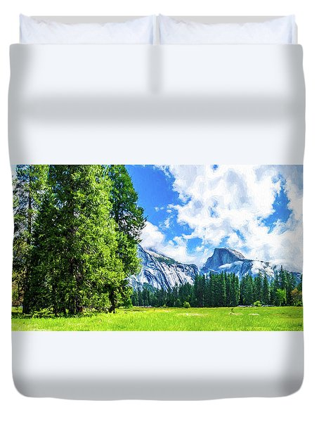 Yosemite Valley And Half Dome Digital Painting Duvet Cover
