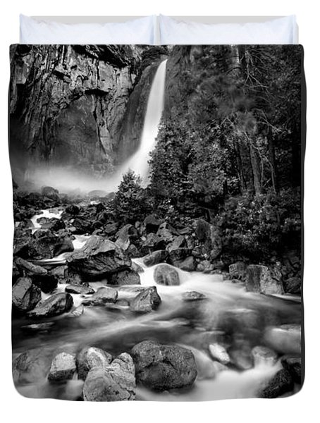 Yosemite Waterfall Bw Duvet Cover by Az Jackson