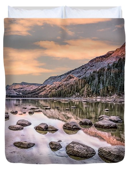 Duvet Cover featuring the photograph Yosmite And Merced River Sunset by Gigi Ebert