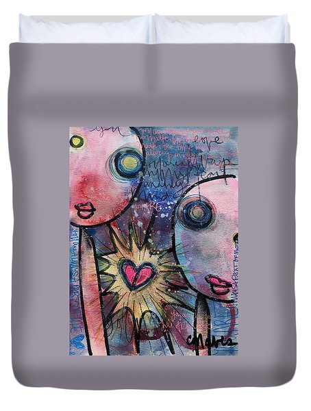 Duvet Cover featuring the painting You Are Always In My Heart  by Laurie Maves ART