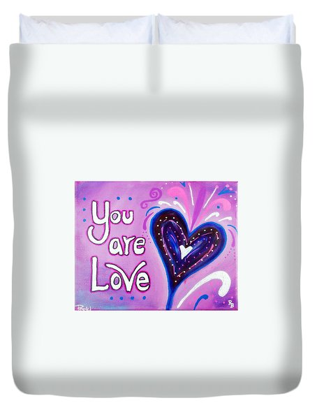 You Are Love Purple Heart Duvet Cover