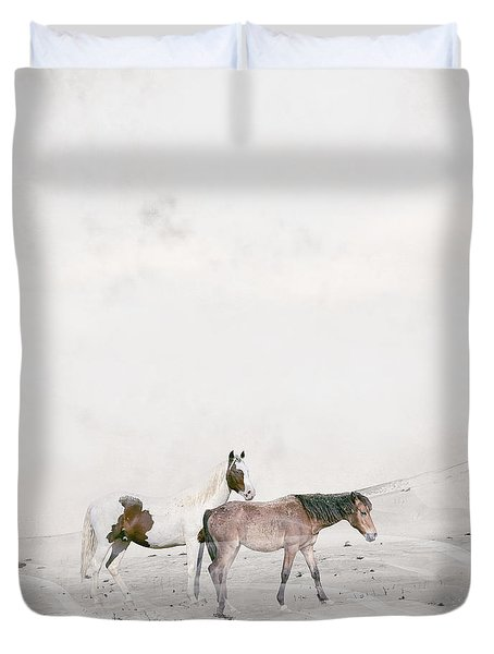 Duvet Cover featuring the painting You Are Not Alone by Bri B