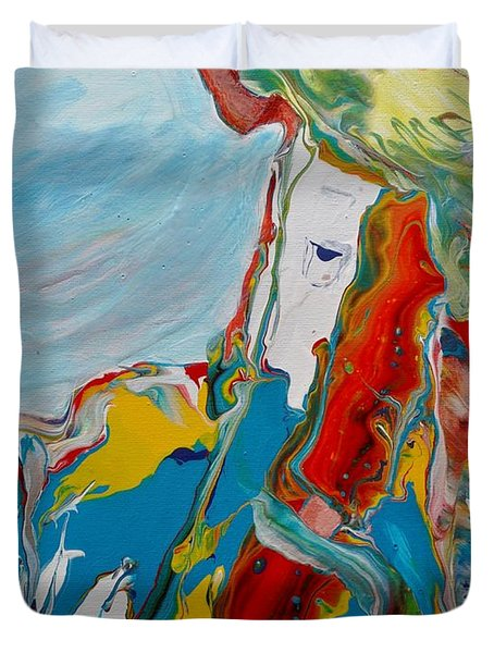 Duvet Cover featuring the painting You Bring The Color by Deborah Nell