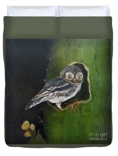 Duvet Cover featuring the painting You Caught Me by Roseann Gilmore