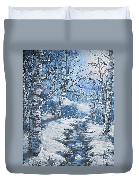 Duvet Cover featuring the painting You Could Hear A Snowflake Fall by Megan Walsh