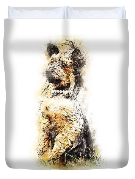 Duvet Cover featuring the digital art You Ready by Kathy Tarochione