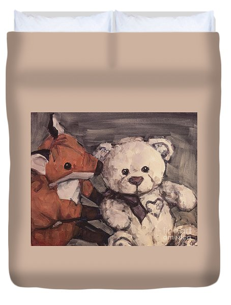 Duvet Cover featuring the painting You Should Not Trust Her by Olimpia - Hinamatsuri Barbu