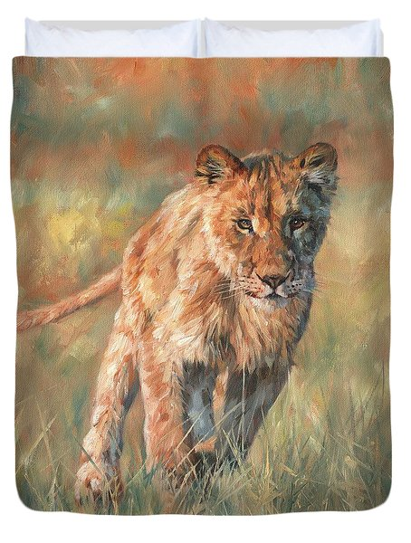 Duvet Cover featuring the painting Youn Lion by David Stribbling