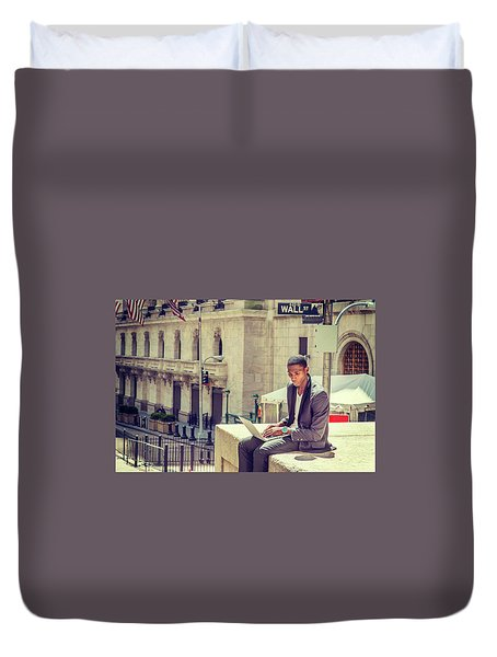 Young African American Man Working On Wall Street In New York Duvet Cover