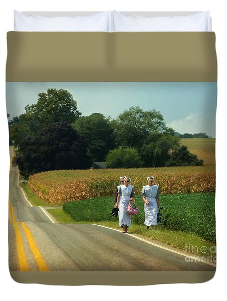 Young Amish Woman Barefoot Stroll Duvet Cover