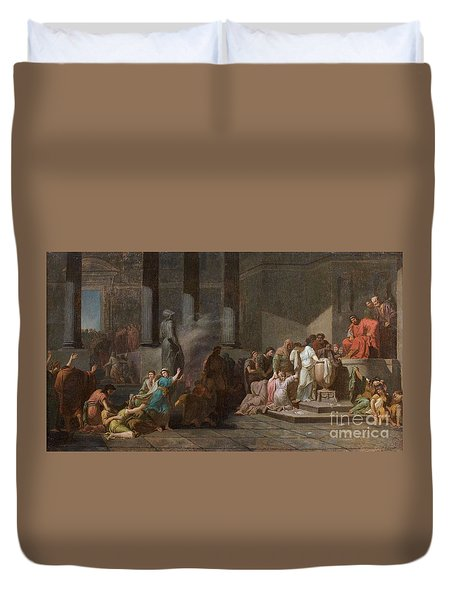 Young Athenian And Athenian Casting Lots To Be Delivered To The Minotaur Duvet Cover by MotionAge Designs