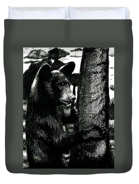 Young Black Bear In Tree  Duvet Cover