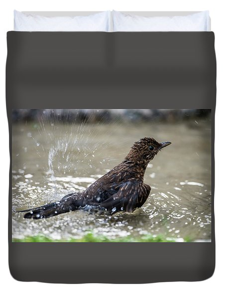 Duvet Cover featuring the photograph Young Blackbird's Bath by Torbjorn Swenelius
