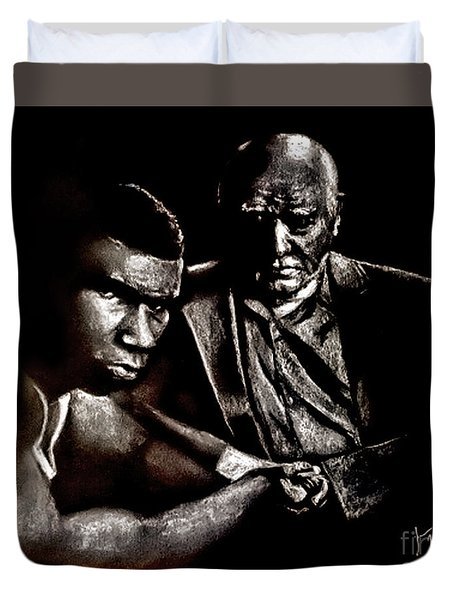 Young Boxer And Soon To Be World Champion Mike Tyson And Trainer Cus Damato Duvet Cover
