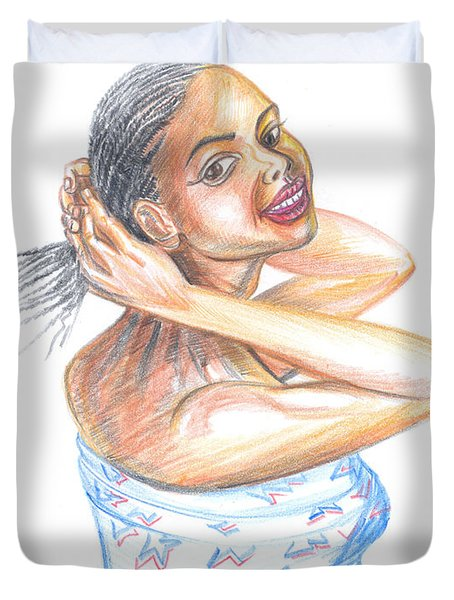 Duvet Cover featuring the painting Young Cameroun Woman Tying Her Hair by Emmanuel Baliyanga
