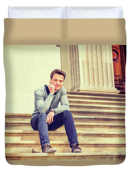 Young College Student 15042515 Duvet Cover