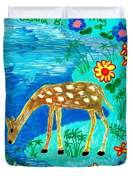 Young Deer Drinking Duvet Cover by Sushila Burgess