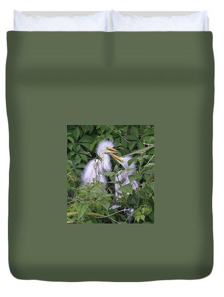 Young Egrets Duvet Cover