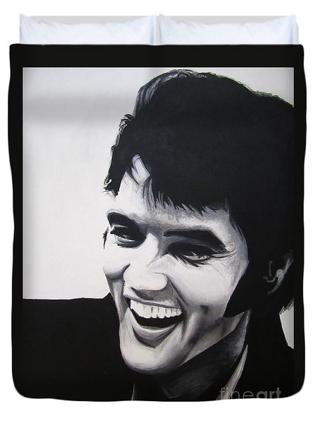 Duvet Cover featuring the painting Young Elvis by Ashley Price