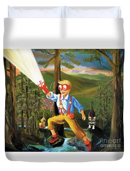 Duvet Cover featuring the painting Young Explorer by Donna Hall