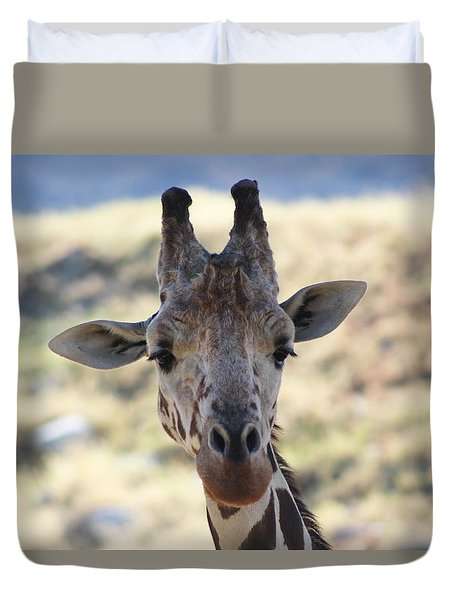 Young Giraffe Closeup Duvet Cover by Colleen Cornelius