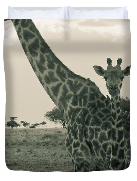 Young Giraffe With Mom In Sepia Duvet Cover by Darcy Michaelchuk