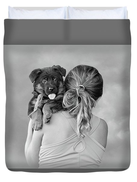 Young Girl And Puppy Duvet Cover