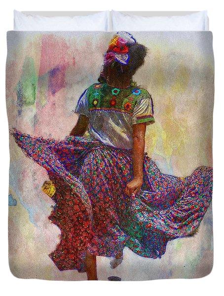 Young Girl Dancing Duvet Cover