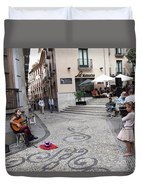 Duvet Cover featuring the photograph Young Girl Listening To Guitar - Grenada - Spain by Madeline Ellis