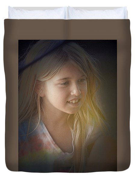Young Girl Duvet Cover by Lori Seaman